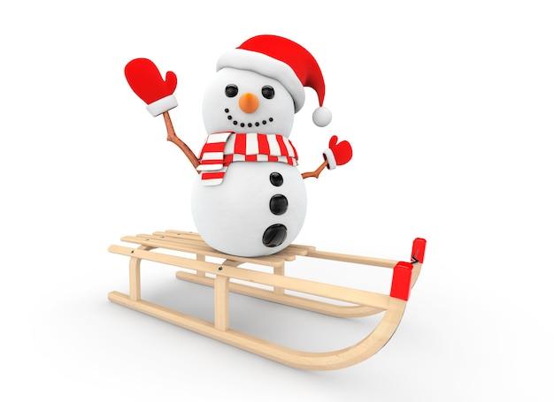 Снеговик над деревянными санями на белом фоне