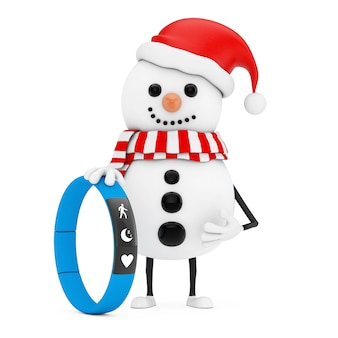 Snowman in santa claus hat character mascot with blue fitness tracker on a white background. 3d rendering