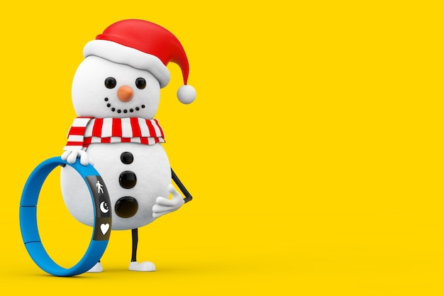 Snowman in santa claus hat character mascot with blue fitness tracker on a yellow background. 3d rendering