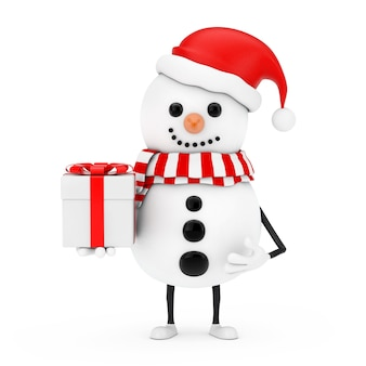 Snowman in santa claus hat character mascot with gift box with red ribbon on a white background. 3d rendering