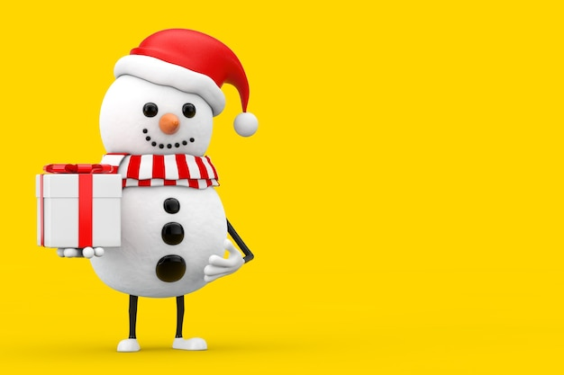 Snowman in santa claus hat character mascot with gift box with red ribbon on a yellow background. 3d rendering