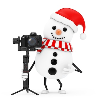 Snowman in santa claus hat character mascot with red heart and dslr or video camera gimbal stabilization tripod system on a white background. 3d rendering