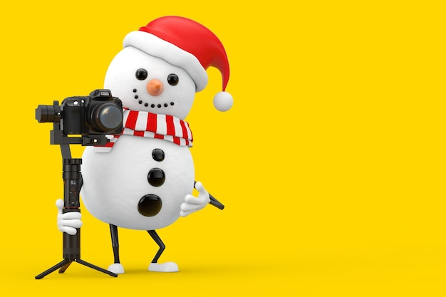 Snowman in santa claus hat character mascot with red heart and dslr or video camera gimbal stabilization tripod system on a yellow background. 3d rendering
