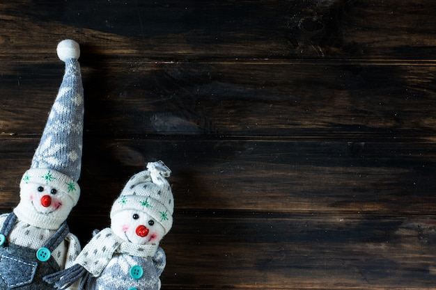 Snowman, santa. winter. christmas background. new year background. christmas composition.