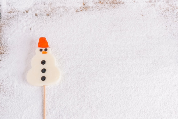 Snowman shaped lollipop on stick