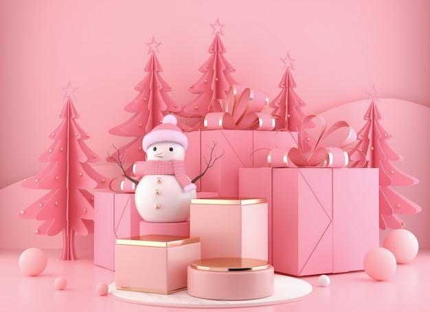 Снеговик стоит на подиуме