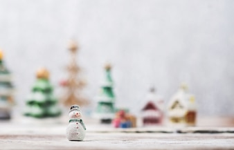 Snowman toy with blurred background