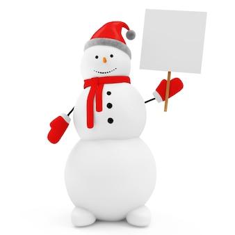 Снеговик с пустой доской на белом