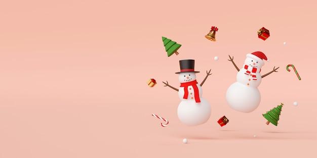 クリスマスデコレーション3dレンダリングと雪だるま