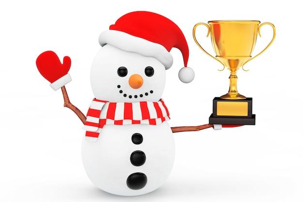Снеговик с золотым трофеем на белом фоне