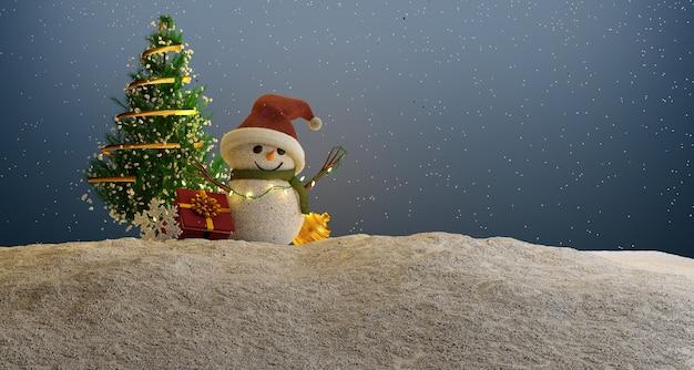 Снеговик в шляпе и шарфе. 3d визуализация