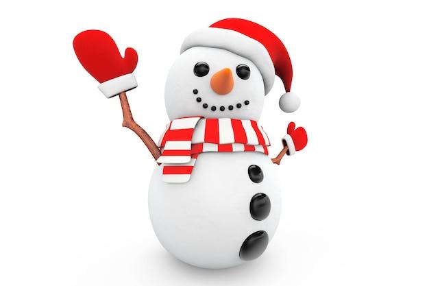 Снеговик в новогодней шапке и перчатках на белом фоне