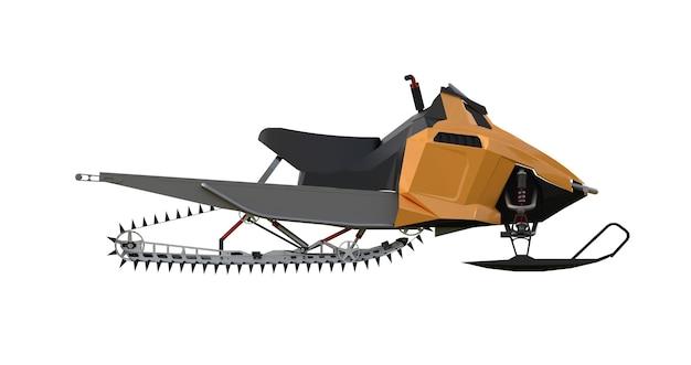 Снегоход. виды оборудования с разных сторон. 3d-рендеринг.