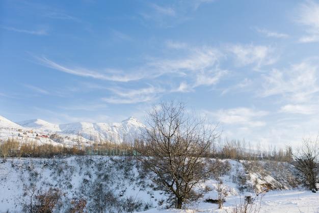 Снежный красивый зимний пейзаж гор