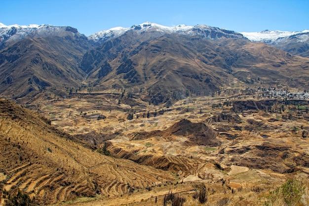 눈 덮인 중앙 안데스 산맥 풍경