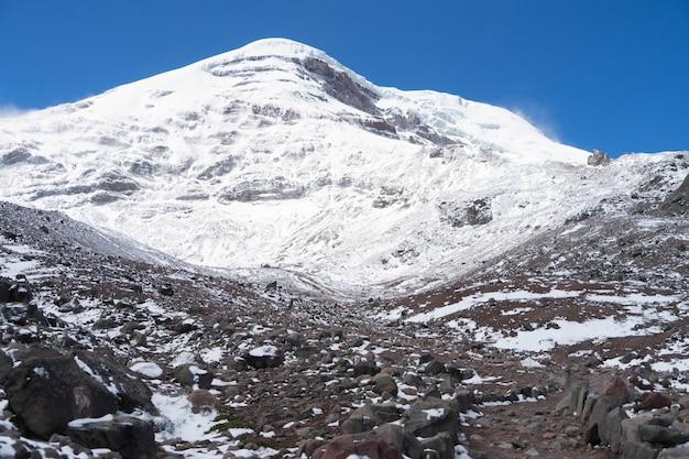 Snowy chimborazo volcano