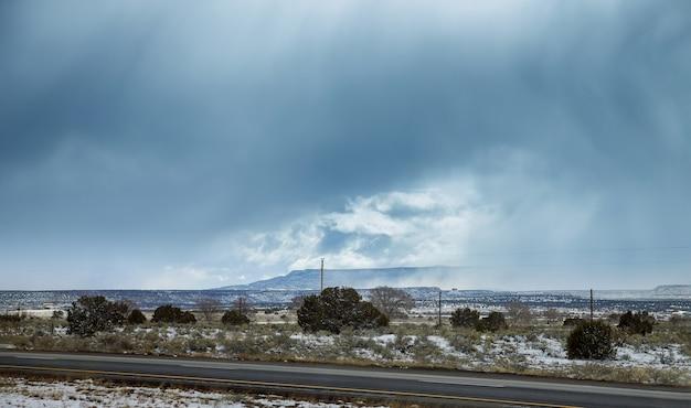 Snowy desert road landscape in arizona