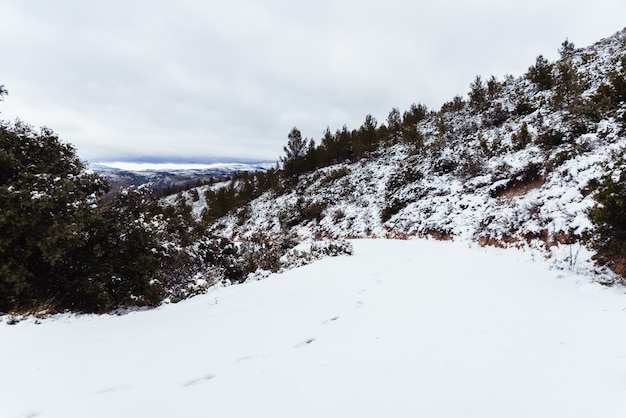 Siete aguas에서 산악 도로 눈에 발자취와 눈 덮인 풍경