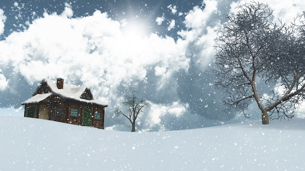 Snowy landscape with house and trees
