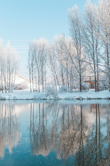 Snowy landscape with reflection