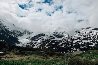 Snowy mountain in Swiss Alps. Summer landscape
