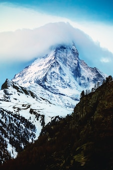 Snowy mountain matterhorn, zermatt, switzerland
