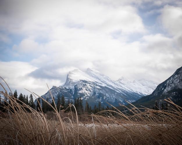 ヴァーミリオン湖、バンフ、アルバータ、カナダで撮影された雪山マウントランドル