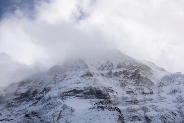 曇りの日の風景に雪の山