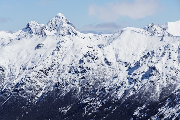 Snowy mountain top during winter