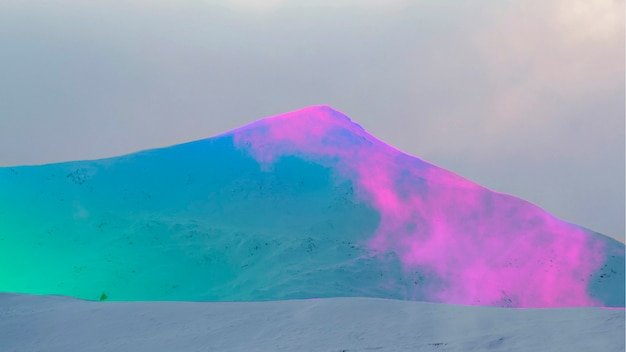 Snowy mountain with a neon effect filter