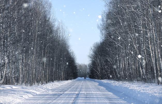 冬の日の森の空の田舎道で雪が降る
