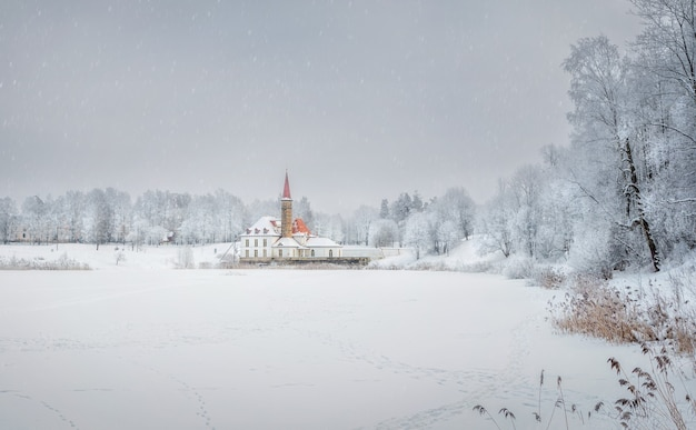 Snowy panoramic view of the old palace. white snowy landscape with old maltese palace in beautiful natural landscape. gatchina. russia.