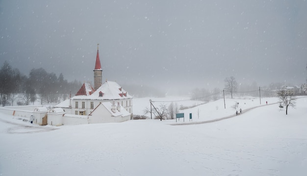 Snowy panoramic view of the old palace