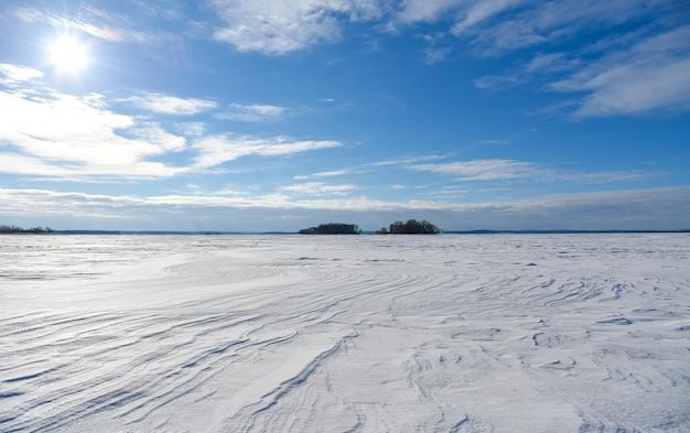 晴れた冬の日の雪の平原。