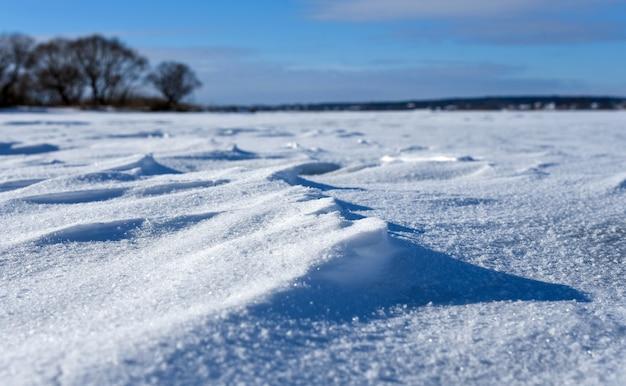 冬の凍るような日に雪に覆われた平原。