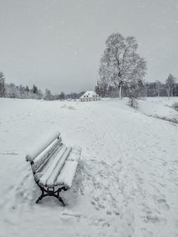 雪に覆われたベンチと雪の冬のミニマルな風景。ガッチナ。ロシア。