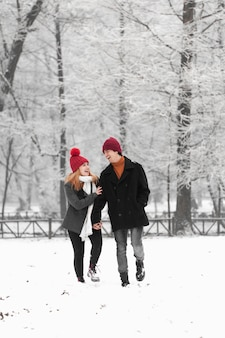Snowy winter season with lovely couple