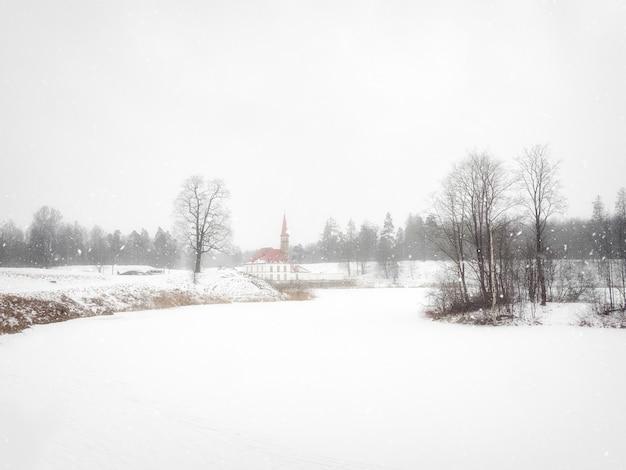 雪の吹きだまりガッチナロシアの古い宮殿の雪に覆われた冬の景色