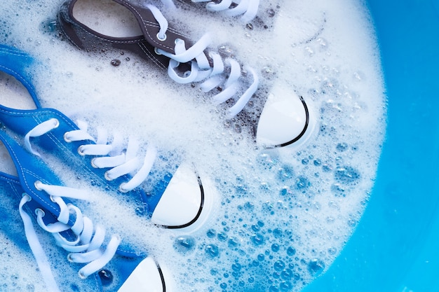 Soak shoes before washing. cleaning dirty sneakers.