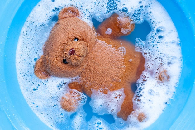 Soak toy bear in laundry detergent water dissolution before was