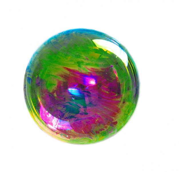 Soap bubble with colors on white background