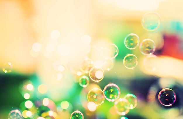Soap bubbles, abstract surface, retro tinted