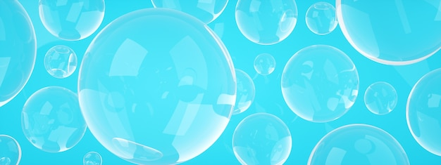 Soap bubbles over blue background, 3d rendering, panoranic image