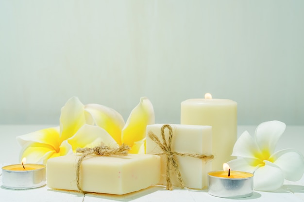 Soap and candle. spa treatment for body and face mask. spa wellness set.
