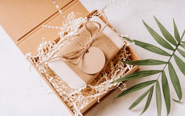 Soap in  gift box mockup label tag