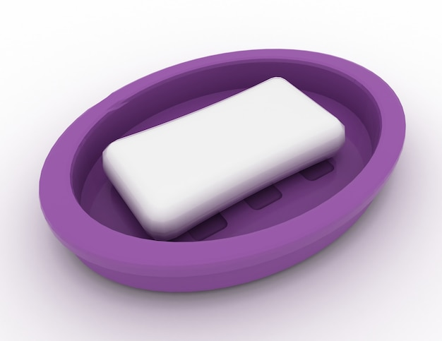 흰색 3d 렌더링 그림에 비누 쟁반에 비누