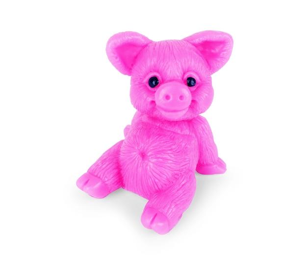 돼지 모양의 비누, 돼지의 해, 흰색 바탕에 분홍색 장난감 돼지