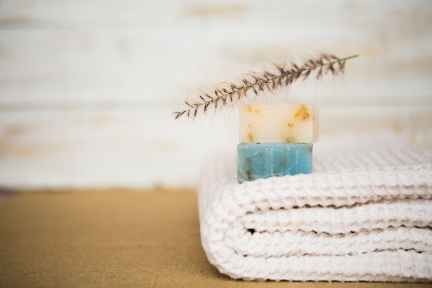 Soap on towel