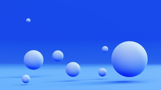 青い背景にそびえ立つ球。抽象的な3dレンダリング。