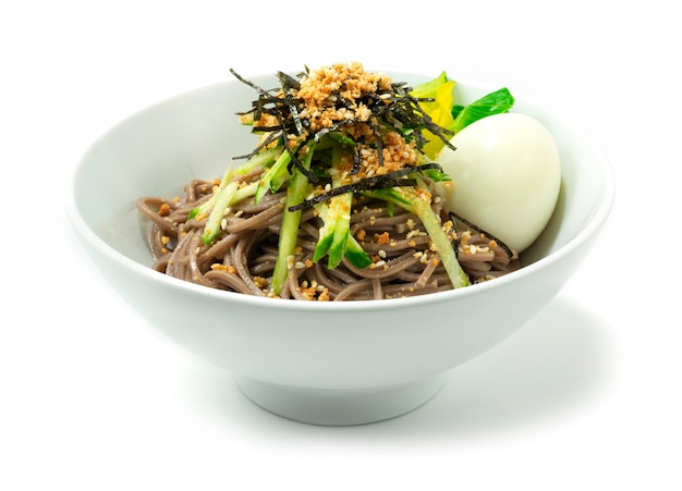 Soba noodles  in a bowl isolated on white background